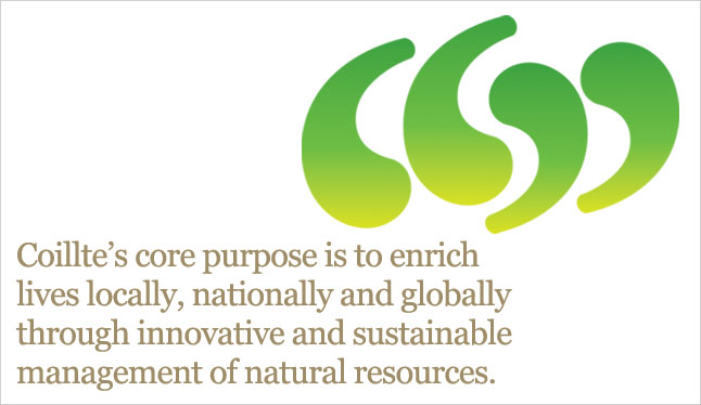 Coillte's core purpose is to enrich lives locally, nationally and globally through the innovative and sustainable management of natural resources.